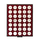 LINDNER Original Münzbox 2711 für 10 EURO-/10 DM-Gedenkmünzen - Rauchglas