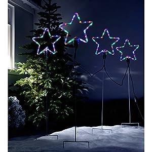 WeRChristmas Pre-Lit LED Flashing Multi-Coloured Star Rope Light Silhouettes, 120 cm - Large, Set of 4
