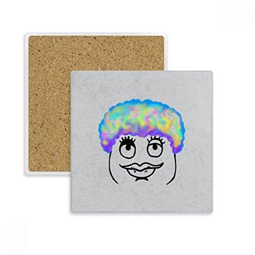 DIYthinker Dicke Lippen Frau Schwarz Emoji Muster-Quadrat-Coaster-Schalen-Becher-Halter Absorbent Stein für Getränke 2ST Geschenk Mehrfarbig