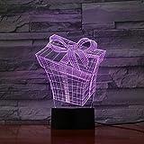 Boîte De Cadeau Lumière De Nuit 3D Lumière De Nuit Led Illusion 3D 7 Couleurs Tactile Capteur Chambre Décoration Chambre Lampe Enfant Enfant Bébé Nuit Lampe De Chevet