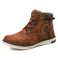 Gaatpot Mens Snow Boots Winter Warm Ankle Boots Faux Fur Lining Anti-Slip Booties Outdoor Sneakers Work Short Plush Shoes Brown Size 9UK=43CN