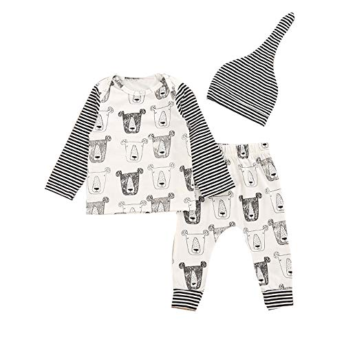Kind Kleinkind-Baby-Mädchen-Jungen Druck Oberseiten Hosen Hut Outfit Set feiXIANG Neugeborenes Ausstattungen (Grau,100)