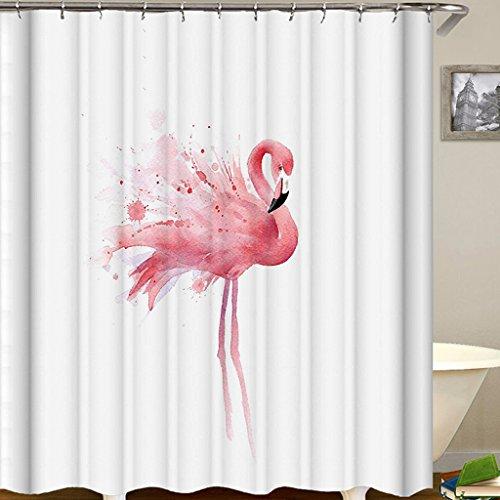 OldPAPA Duschvorhang, 100% Polyester, Anti-Bakteriell, Wasserabweisend, Waschbar, Flamingos Duschvorhang aus Stoff mit 12 Duschvorhangringe,180x180cm (Flamingo Duschvorhang)