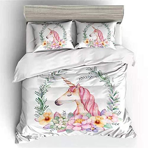 DANGONG BROTHERS Bettwäscheset 3D Animal Print Effekt Quilt Bettwäsche Set, für Jungen Mädchen Teens Mehrere Designs Bettwäsche Einhorn Set,Picture9,Double -