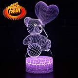 New 3D Teddy Bear Night Lamp Optical Illusion Remote Control 7 Colors Changing...