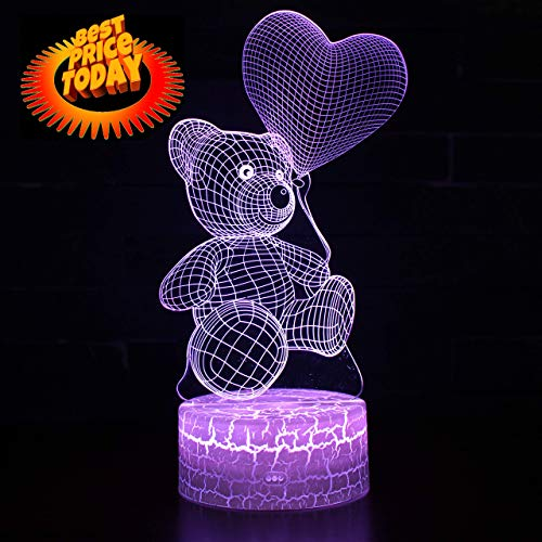 Serenity Life New 3D Teddy Bear Night Lamp Optical Illusion Remote Control 7 Colors Changing Bedside LED Lamp Home Décor Office Bedroom Party Decorations for Boys Girls Children Adults