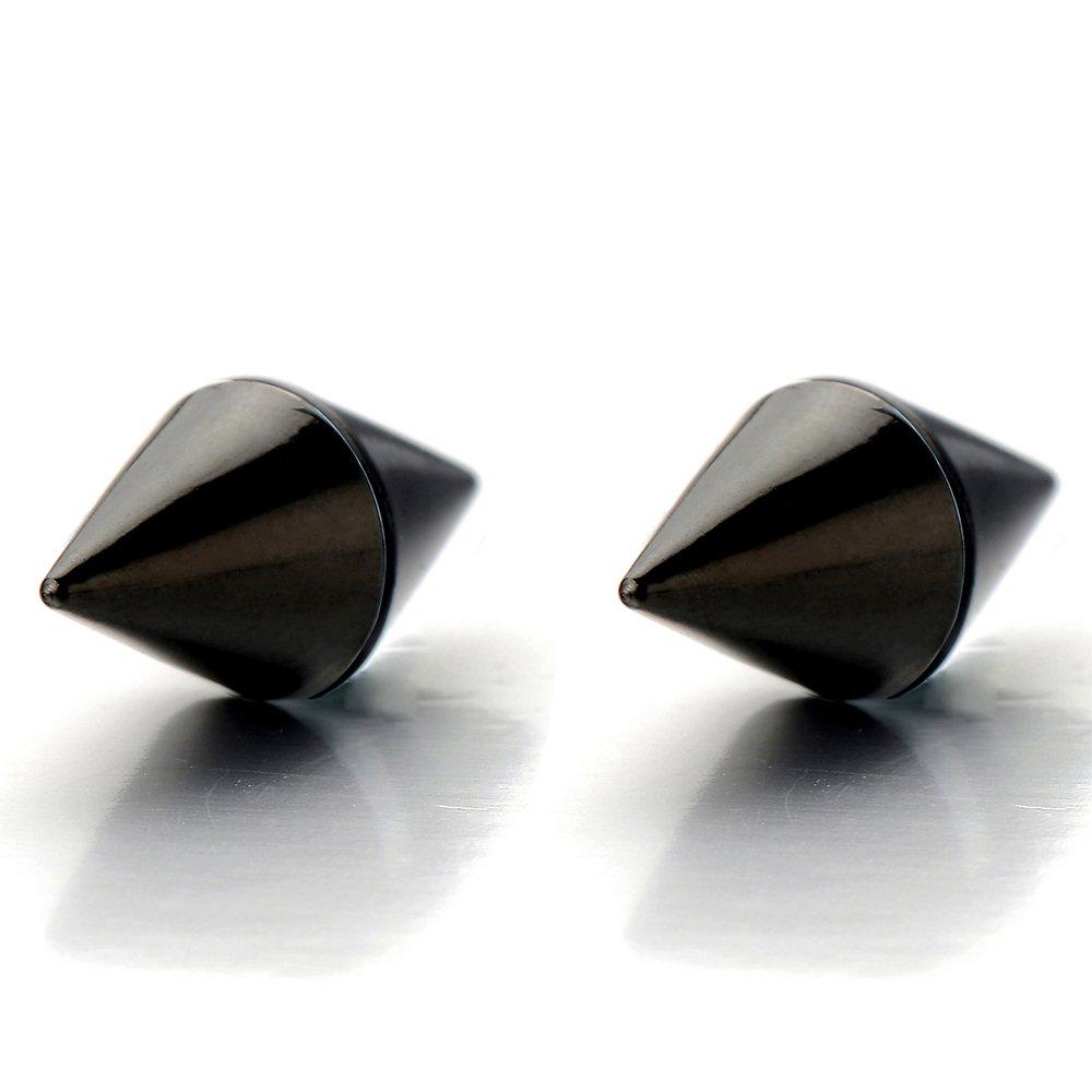 Magnetic Black Spike Stud Earrings for Men Women, Non-Piercing Clip On Steel Cheater Fake Ear Plugs Gauge