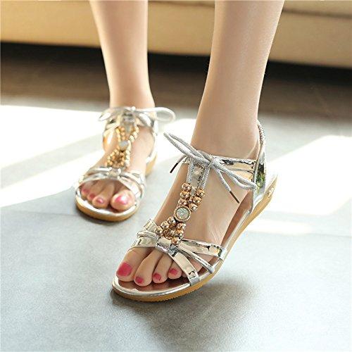 XY&GKFrauen mit Perlen, flache Unterseite's Sandals Women Beach Low Heels komfortable Sommer Schuhe 35 Silver