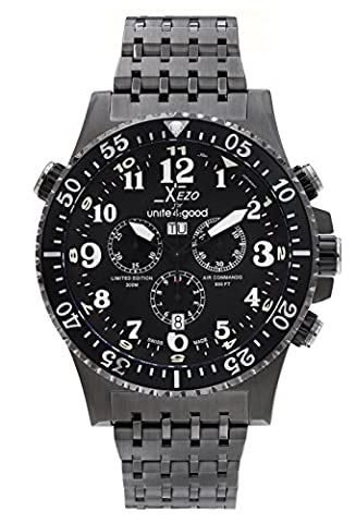 Xezo for Unite4:good Air Commando Swiss Made Divers,Pilots Gunmetal Chronograph Watch,30 ATM, Partial