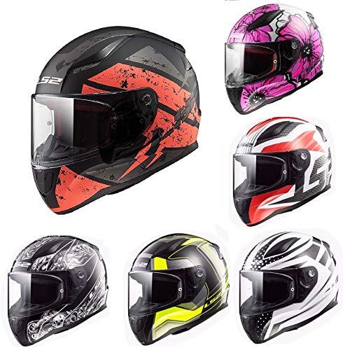 CASCHI MOTO - LS2 FF353 Rapid Casco integrale Moto Scooter Sportivi Touring Full Face Casco da Corsa, Tute Color - Deadbolt Nero/Arancio - 2XL