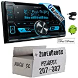 Peugeot 207 307 - Kenwood DPX-X5000BT - 2DIN Bluetooth USB Autoradio - Einbauset