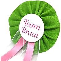 AnneSvea Orden Team Braut grün Anstecker Button rosa Hochzeit Wedding Dekoration Bridalshower Hen Party JGA Junggesellinnenabschied