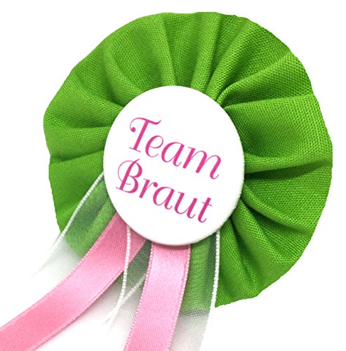AnneSvea Orden Team Braut grün Anstecker Button rosa Hochzeit Wedding Dekoration Bridalshower Hen Party JGA Junggesellinnenabschied