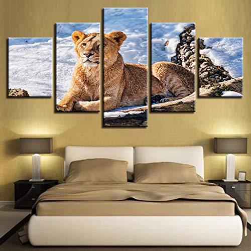 mmwin Kunst Moderne HD Gedruckt 5 Stücke Tier Lion Schneelandschaft Leinwand Modulare Poster Wohnzimmer Wand-dekor Bild Kunstwerk