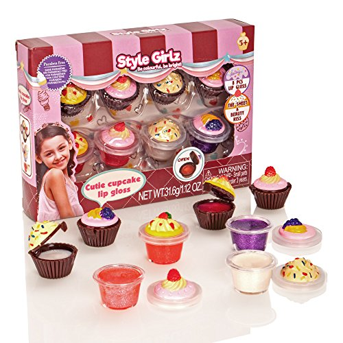 S & Li Kosmetik Cutie Cupcake 8 Stück Lipgloss Set (Make-up-kit Kinder Für)