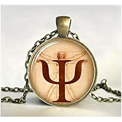 Collar con símbolo de PSI, colgante de psicología, joyería, regalo para psicólogo, fotografía, imagen, anatomía, joyería de cristal