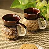 ExclusiveLane 'Cocoa & Fire Carvings' Studio Pottery Tea & Coffee Mugs In Ceramic (Set Of 2) - Coffee Mugs Milk Mugs Ceramic Cups Set Coffee Cup Set Cups For Milk Tea Coffee Serving Pieces Glassware Drinkware