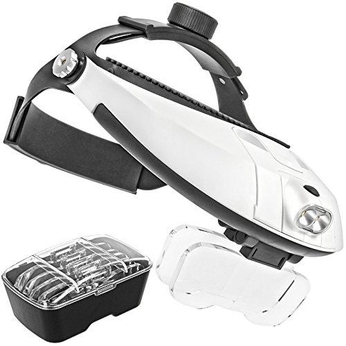 Lupe 4-5x (Profi Stirnlupe Brillenlupe Kopflupe mit Doppel LED Beleuchtung und 5x High Definition Vergroeßerungsglaeser)