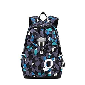 Maod Adolescentes Impresión Mochilas Escolares Impermeable Mochila portatil Bolsa de Escuela 15.6 Pulgada (Azul 2)