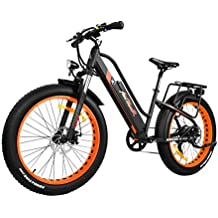 Addmotor MOTAN Women Electric Mountain Bike 26 Inch Fat Tire Full Suspension 500W Motor Bicycle 2018 M-450 E-bike (Naranja)