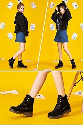Con Gli Stivali Neve Martin Platform Lacci Inverno Shoes Felpa All'aperto Nere Sulla Stivali Minetom Retro Donna qwcIS4IA