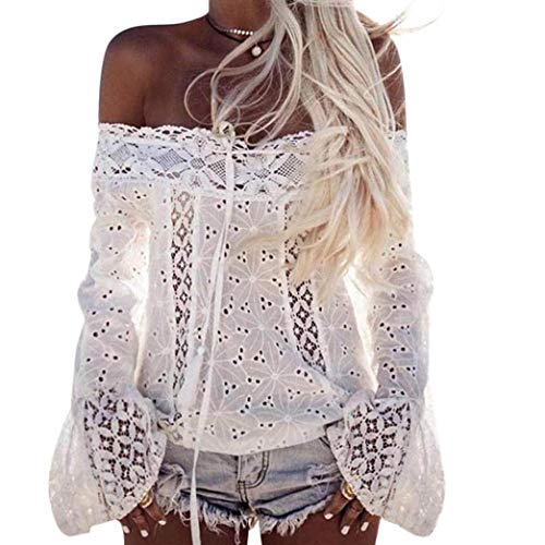 Xmiral Damen Tops Schulterfrei Long Puff Sleeve Slash Hals Baumwollspitze Lose Bluse T-Shirt...