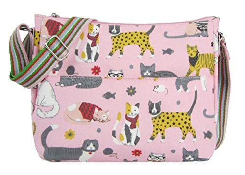 Kukubird Divers Animaux Et À Décors Floraux Multi-usages Crossbody Fourre-tout Sac À Main Poignée En Haut Épaule Pink Cat