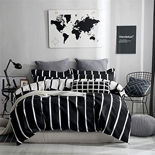 KANG-FANG,Vier Stücke Bett frische einfache Blätter Steppdecke Decken nordische Ära ab(Color:SCHWARZ,Size:KÖNIGINGRÖSSE) -