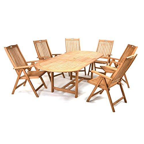 Divero Gartenmöbel-Set Terrassenmöbel-Garnitur Sitzgruppe - großer Esstisch 170/230 cm ausziehbar + 6 Hochlehner mit Armlehne - Teak massiv behandelt