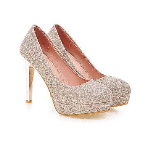 AllhqFashion Damen Hoher Absatz Rein Ziehen Auf Weiches Material Rund Zehe Pumps Schuhe Golden