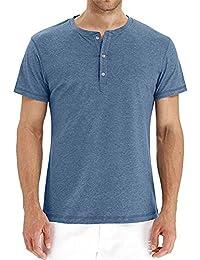67b8be75b6c8 MODCHOK Herren T-Shirt Shirt Kurzarm Hemd Knopfleiste V-Ausschnitt Tiefem  Ausschnitt Slim Fit