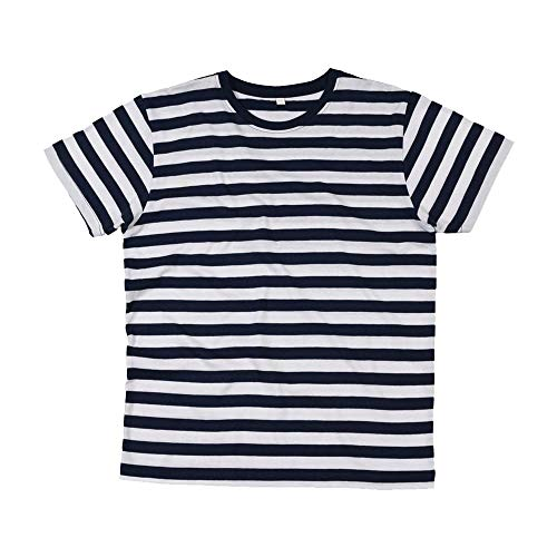 Mantis – Camiseta retro de rayas., hombre, Mantis - Mens Retro Streifen T-Shirt, blanco/negro, large