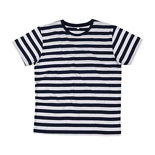 Mantis - Mens Retro Streifen T-Shirt L,Black/White -