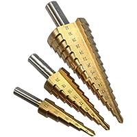 Beetrie 3 piezas Juego de brocas escalonadas 4-12/20/32 mm, de acero HSS