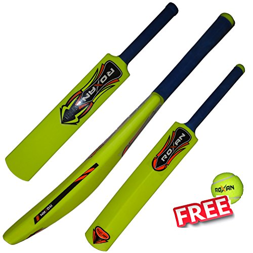 ROXAN NEW PLASTIC CRICKET BAT PARROT GREEN WITH ONE TENNIS BALL (32, MEDIUM)