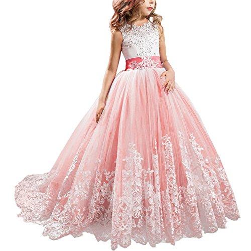IBTOM CASTLE Blumenmädchen Festkleider Kleid Lang Brautjungfern Hochzeit Festlich Kleidung Festzug #2 Wassermelonenrot 2-3 Jahre