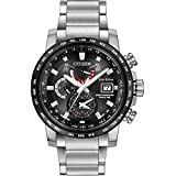 Citizen Watch World Time A.T Men's Solar Powered Watch with Black Dial Analogue Display and Silver Stainless Steel Bracelet At9071-58E