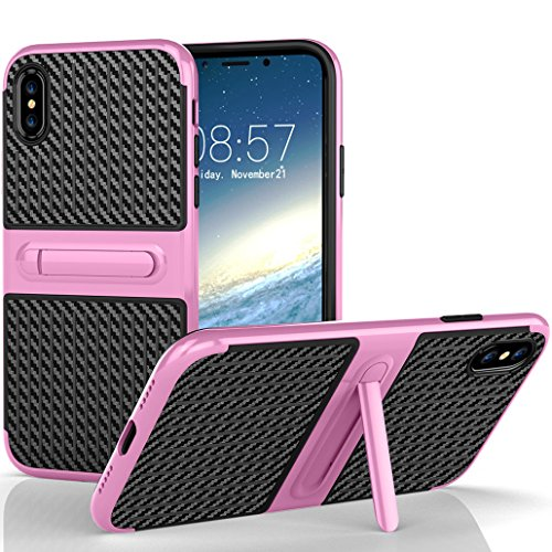 iPhone X Armor Cover, Luxury Carbon Fiber Texture Foldable Movie Video Stand Bumper Frame Thin Custodia, TAITOU New Cool Ultralight Slim Anti-Drop Protect Phone Cover For iPhone X Mint BPink