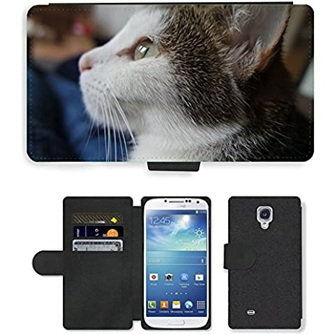 CARD POCKET BOOK CASE PU LEATHER CASE // M00149494 Gato Gato Mascota Cara dulce Estimado // Samsung Galaxy S4 S IV SIV i9500