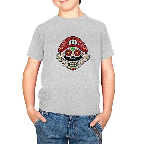 NERDO - Mexican Mario - Kinder T-Shirt, Größe S, grau meliert (Mario Maker Kostüm)