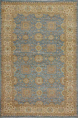 Canadian Rugs Traditioneller handgeknüpfter moderner Chobi-Teppich, 100% Wolle, handgeknüpft, Perserteppich, Größe 15,2 x 22,9 cm, Blau/Beige -