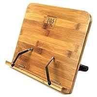 H&S Book Stand Bamboo Recipe Cookbook Holder Stand Kitchen Adjustable Bookrest Reading Rest