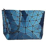 whatUneed Borsa a tracolla geometrica di modo delle donne, borsa casuale del messaggero del Crossbody del cuoio dell'unità di elaborazione per le ragazze (Blu chiaro)