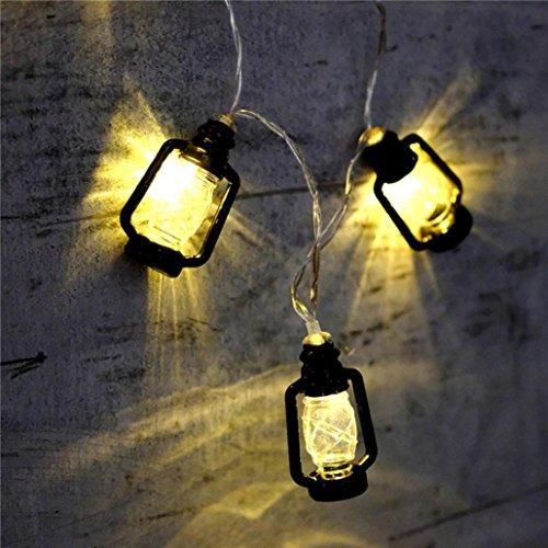 Hunpta LED Persönlichkeit Mini Laterne dekorative Lampe Batterie Box (2M, Schwarz)