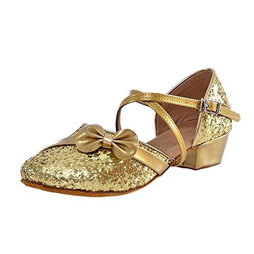 Golden Kostüm Dance - BOZEVON Mädchen Prinzessin Tanzschuhe Kostüm Spiel Performanced Latin Dance Schuhe, 31/Golden