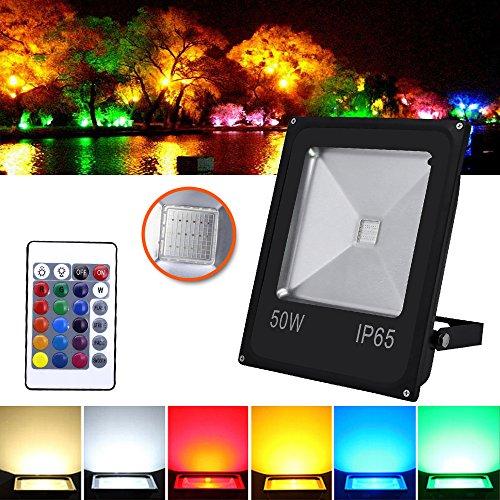 HG® Foco RGB 50W LED Proyector Resistente al agua IP65 Lámpara Exterior...