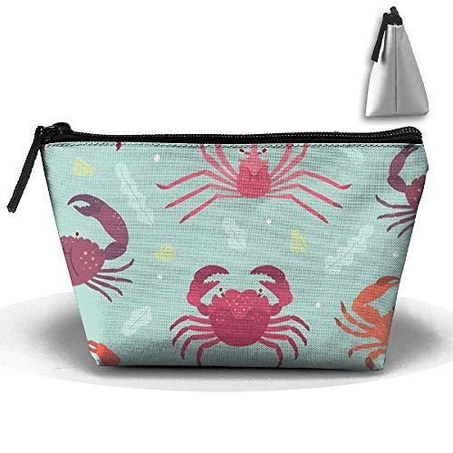 Trapezoid Cosmetic Bags Brush Pouch Ocean Crab Makeup Bag Home Office Travel Cases for Valentine's Day