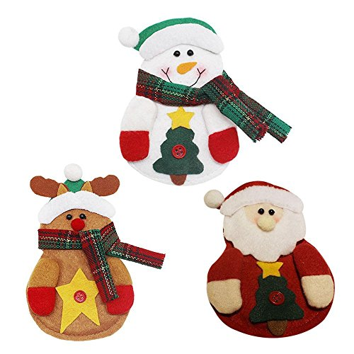 XZANTE 3 Pezzi Set Set da Cucina Porta Oggetti da Taschino Tasche Coltelli Forcelle Borsa Snowman Santa Claus Elk Christmas Party Decoration (Pupazzo di Neve/Babbo Natale/Alce)