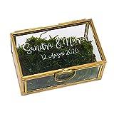 KATINGA Personalisierte Ringbox Gold aus Glas, ca. 9x5x4cm (mit Gravur)