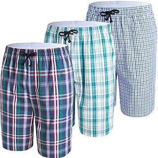 JINSHI Herren Karierte Pyjamahose Baumwolle Nachtwäsche Sleep Hose Größe M